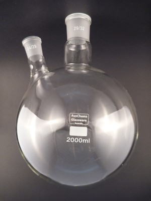 Round bottom boiling flask 2 neck 29/32, 24/29 2000mL